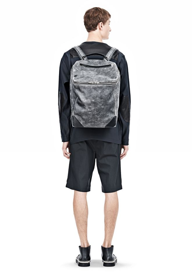 ALEXANDER WANG WALLIE BACKPACK IN DISTRESSED BLACK WITH RHODIUM BACKPACK Adult 12_n_r
