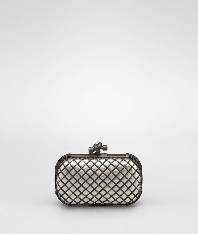 BOTTEGA VENETA PLATINUM METAL GRID KNOT Clutch D fp