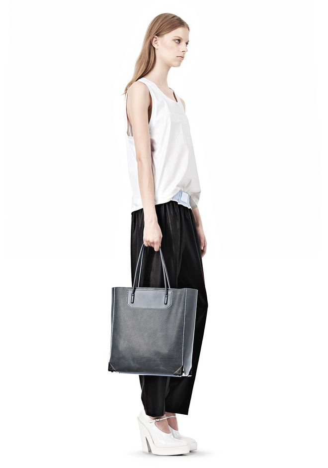 ALEXANDER WANG PRISMA TOTE IN EXHAUST WITH MATTE BLACK  TOTE/DEL Adult 12_n_r