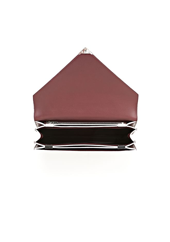 ALEXANDER WANG PRISMA ENVELOPE IN  CORDOVAN  WITH RHODIUM CLUTCH Adult 12_n_a