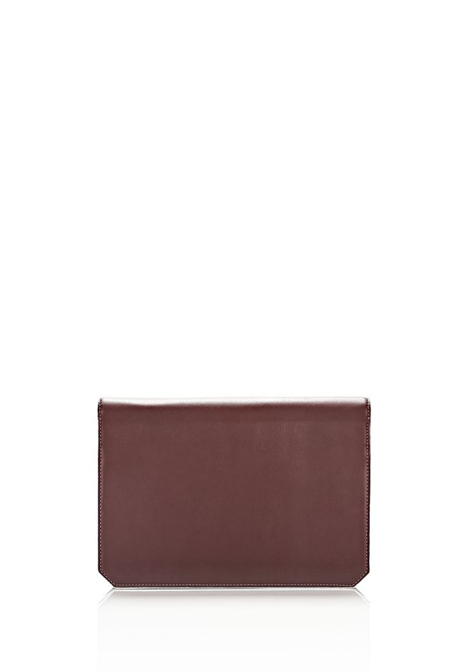 ALEXANDER WANG PRISMA ENVELOPE IN  CORDOVAN  WITH RHODIUM CLUTCH Adult 12_n_d
