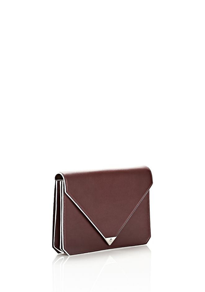 ALEXANDER WANG PRISMA ENVELOPE IN  CORDOVAN  WITH RHODIUM CLUTCH Adult 12_n_e