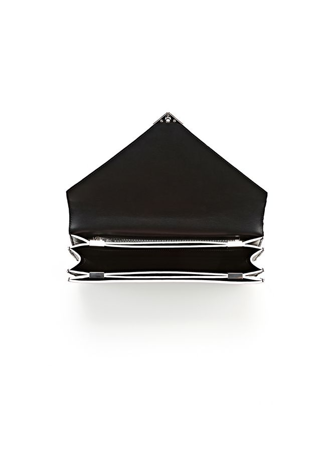 ALEXANDER WANG PRISMA ENVELOPE IN BLACK WITH RHODIUM CLUTCH Adult 12_n_a