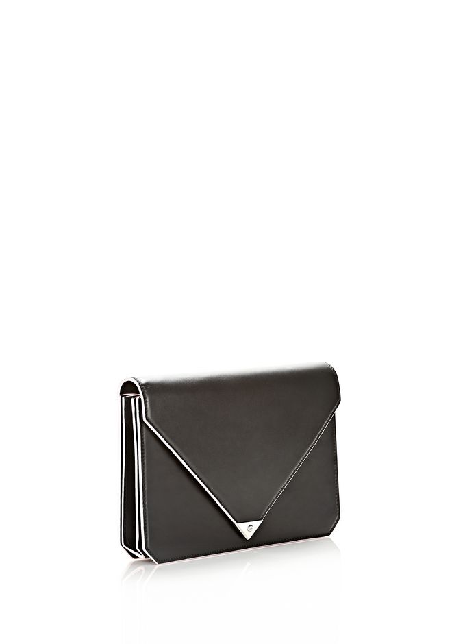 ALEXANDER WANG PRISMA ENVELOPE IN BLACK WITH RHODIUM CLUTCH Adult 12_n_e