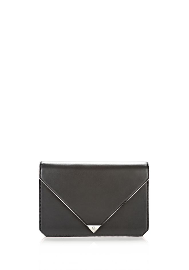 ALEXANDER WANG PRISMA ENVELOPE IN BLACK WITH RHODIUM CLUTCH Adult 12_n_f