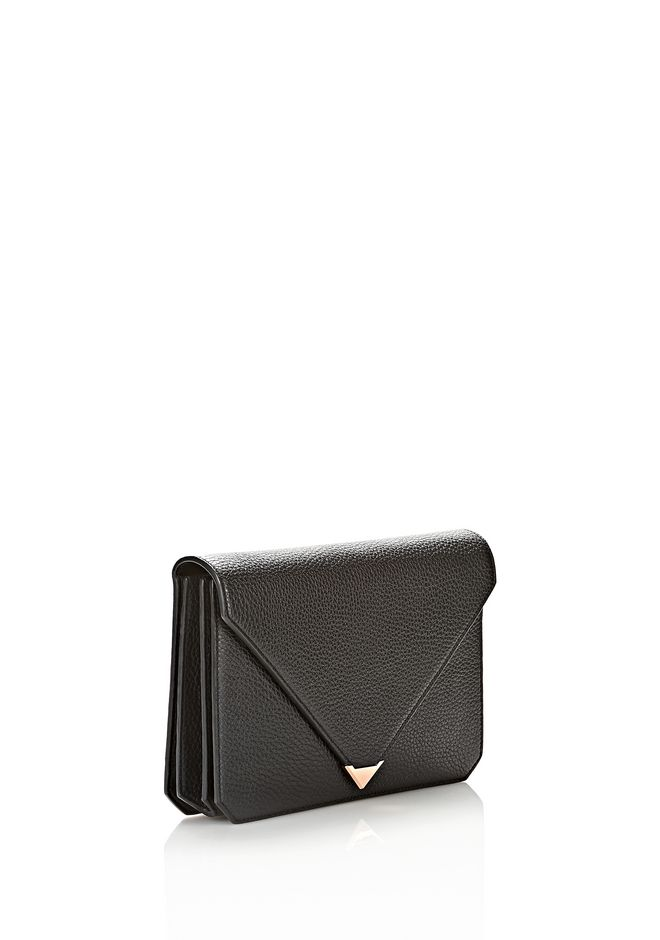 ALEXANDER WANG PRISMA ENVELOPE IN BLACK WITH ROSE GOLD CLUTCH Adult 12_n_e