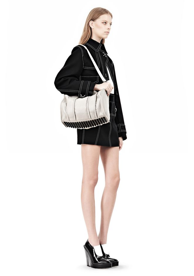 ALEXANDER WANG INSIDE-OUT ROCCO IN CHALK WITH MATTE BLACK Shoulder bag Adult 12_n_r