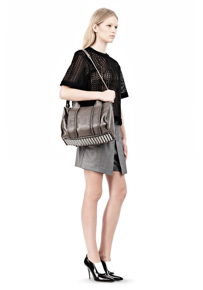 ALEXANDER WANG INSIDE-OUT ROCCO IN GUNPOWDER WITH RHODIUM Shoulder bag Adult 12_n_r