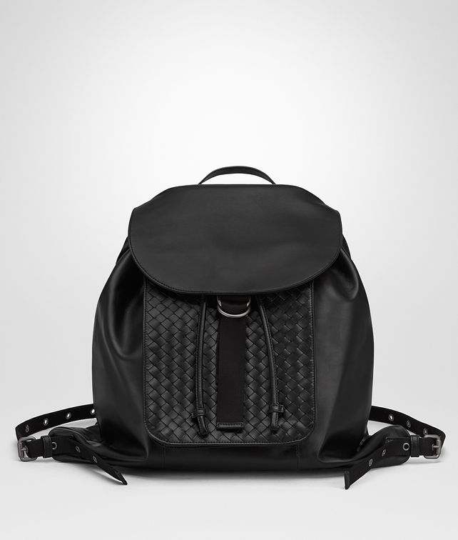 BOTTEGA VENETA BACKPACK IN NERO INTRECCIATO CALF Backpack Woman fp