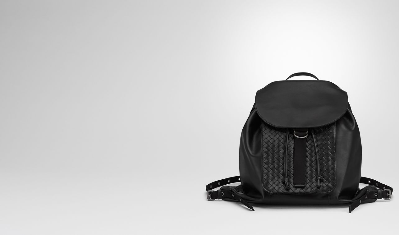 backpack in nero intrecciato calf landing