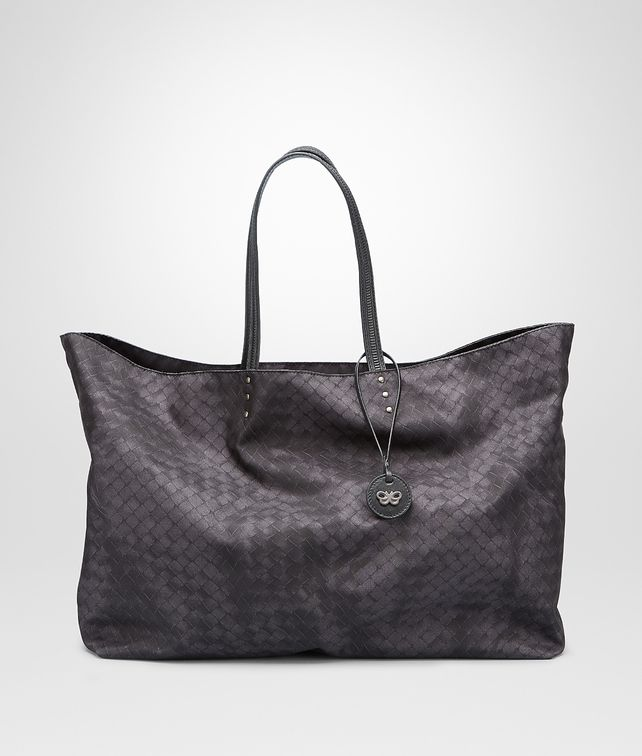 BOTTEGA VENETA LARGE SHOPPER NEW DARK GREY IN INTRECCIOLUSION Borsa Shopping D fp