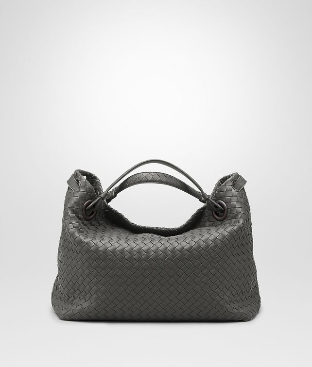 BOTTEGA VENETA MEDIUM SHOULDER BAG IN NEW LIGHT GREY INTRECCIATO NAPPA Shoulder or hobo bag D fp
