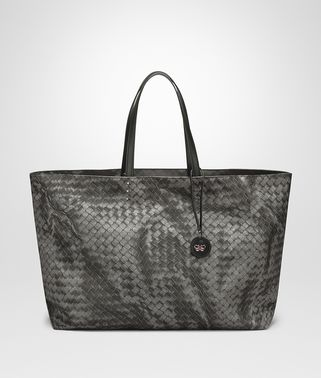 MEDIUM TOTE BAG IN NEW LIGHT GREY INTRECCIOLUSION