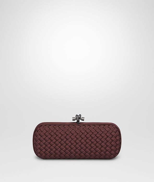 BOTTEGA VENETA STRETCH KNOT CLUTCH IN AUBERGINE INTRECCIO FAILLE MOIRE Clutch D fp
