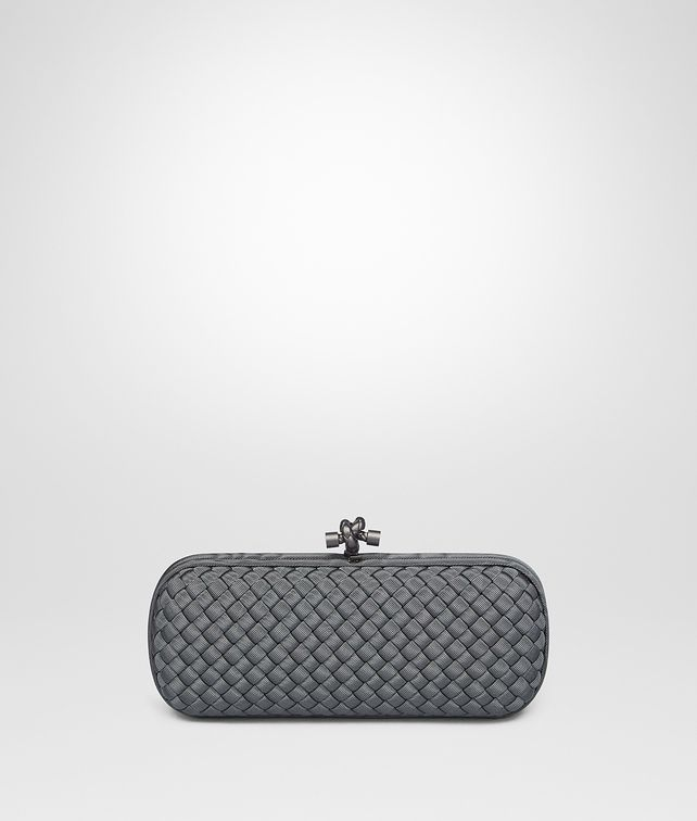 BOTTEGA VENETA MEDIUM GREY INTRECCIATO FAILLE MOIRE STRETCH KNOT Clutch [*** pickupInStoreShipping_info ***] fp