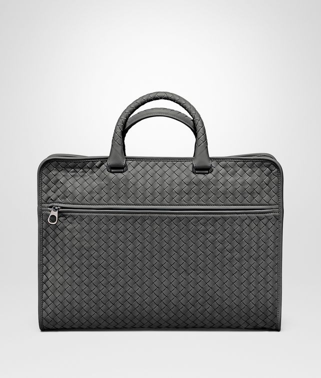 BOTTEGA VENETA AKTENTASCHE AUS INTRECCIATO KALBSLEDER IN NEW LIGHT GREY Business Tasche U fp