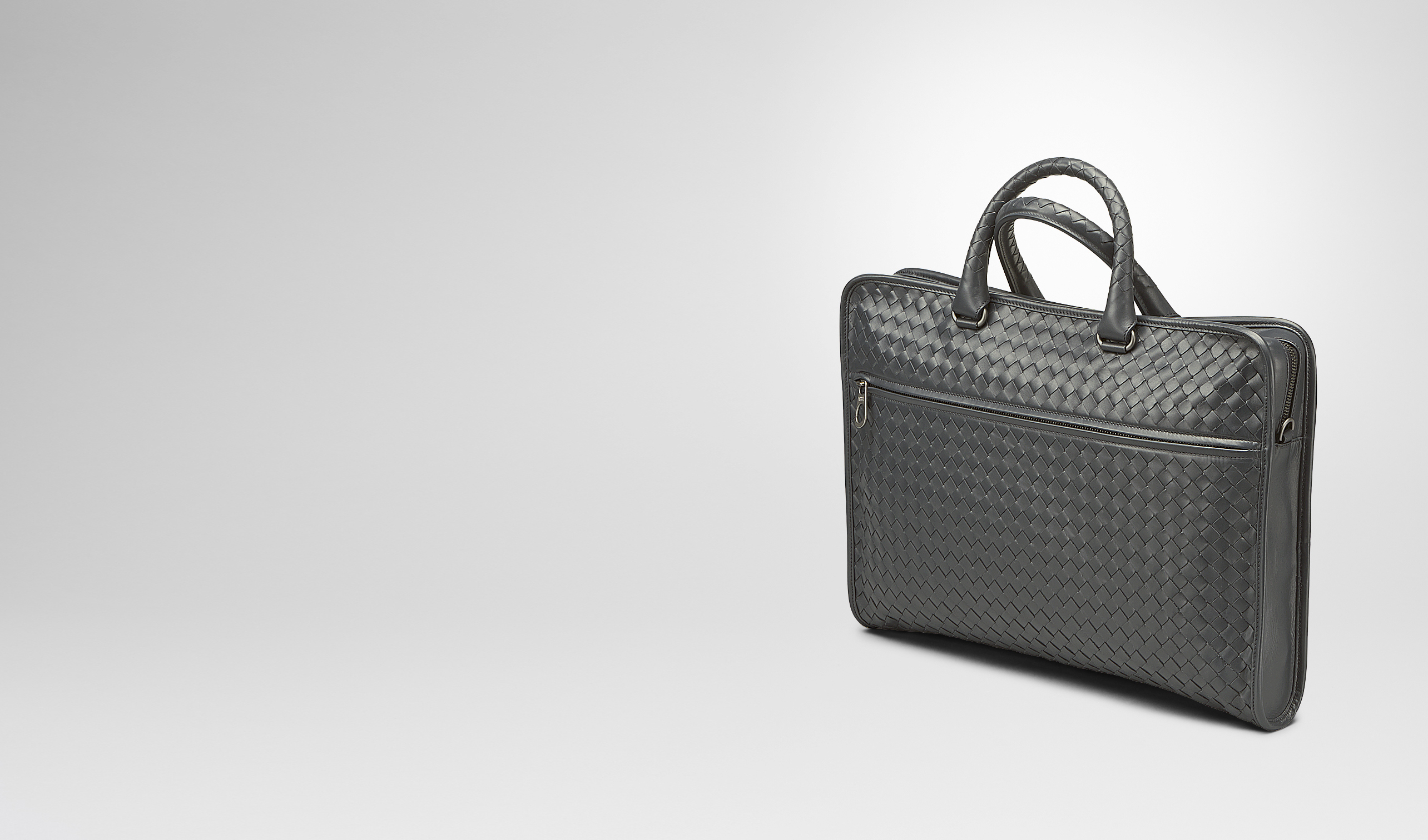 BOTTEGA VENETA Business Tasche U AKTENTASCHE AUS INTRECCIATO KALBSLEDER IN NEW LIGHT GREY pl