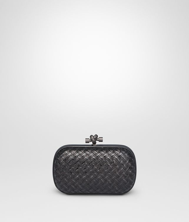 BOTTEGA VENETA Nero Metal Intreccio Placcato Knot Clutch [*** pickupInStoreShipping_info ***] fp
