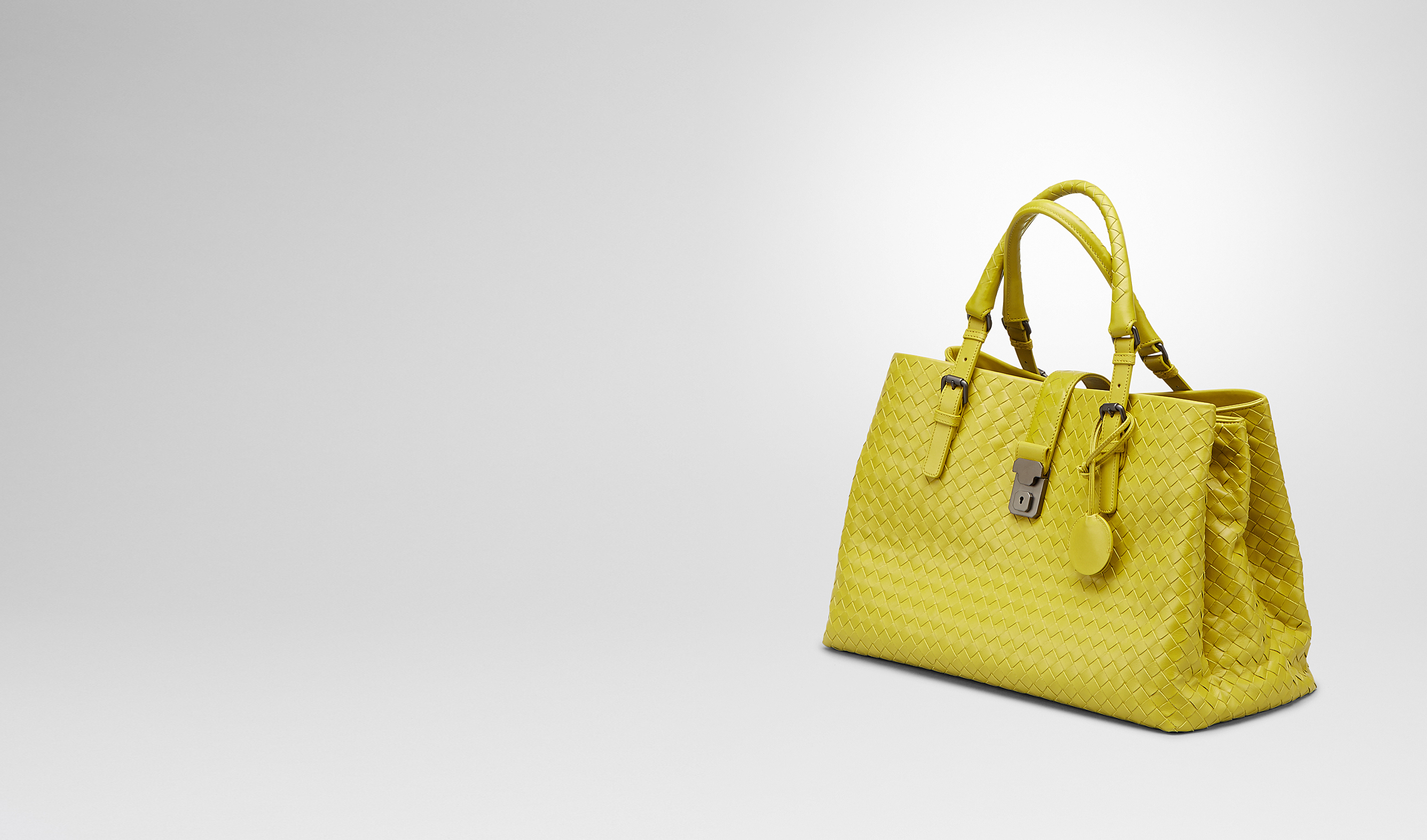 BOTTEGA VENETA Top Handle Bag D NEW CHARTREUSE Intrecciato Light Calf ROMA BAG pl