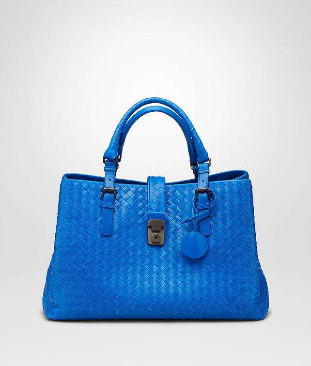 Bottega Veneta® - Signal Blue Intrecciato Light Calf Roma Bag ‎ 37d54941e5dfe
