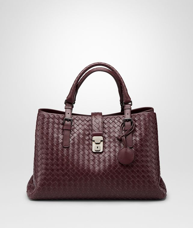BOTTEGA VENETA Aubergine Intrecciato Light Calf Roma Bag Top Handle Bag D fp