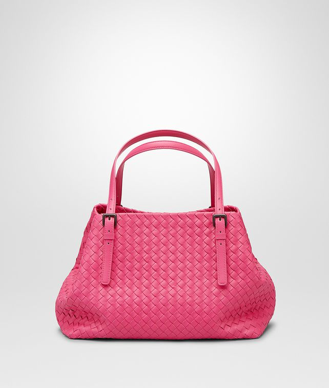 BOTTEGA VENETA SHOPPER ROSA SHOCK IN NAPPA INTRECCIATA Borsa Shopping D fp