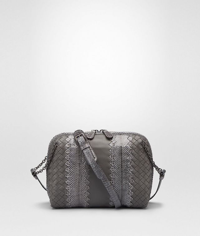 BOTTEGA VENETA MESSENGER BAG IN NEW LIGHT GREY NAPPA AND AYERS Crossbody bag D fp