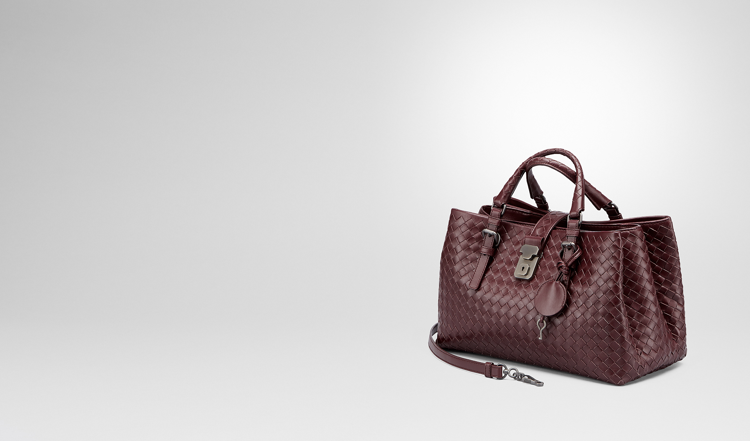 BOTTEGA VENETA Top Handle Bag D Aubergine Intrecciato Light Calf Roma Bag pl