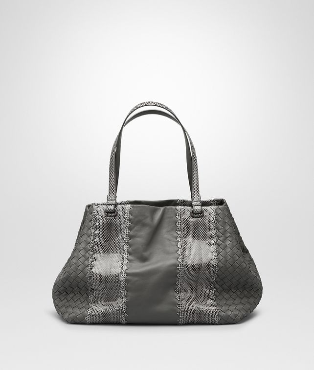 BOTTEGA VENETA BORSA SHOPPING MEDIA IN NAPPA NEW LIGHT GREY E AYERS Borsa Shopping D fp