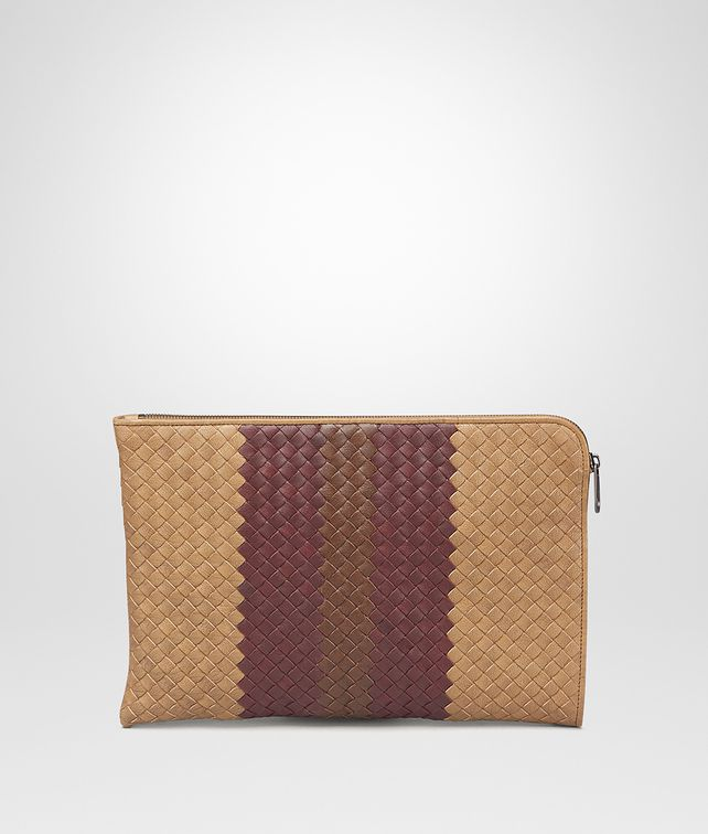 BOTTEGA VENETA New Bronze Aubergine Edoardo Intrecciato Club Fumé Document Case Small bag U fp