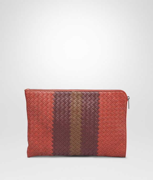 BOTTEGA VENETA Burnt Red Aubergine Edoardo Intrecciato Club Fumé Document Case Small bag U fp