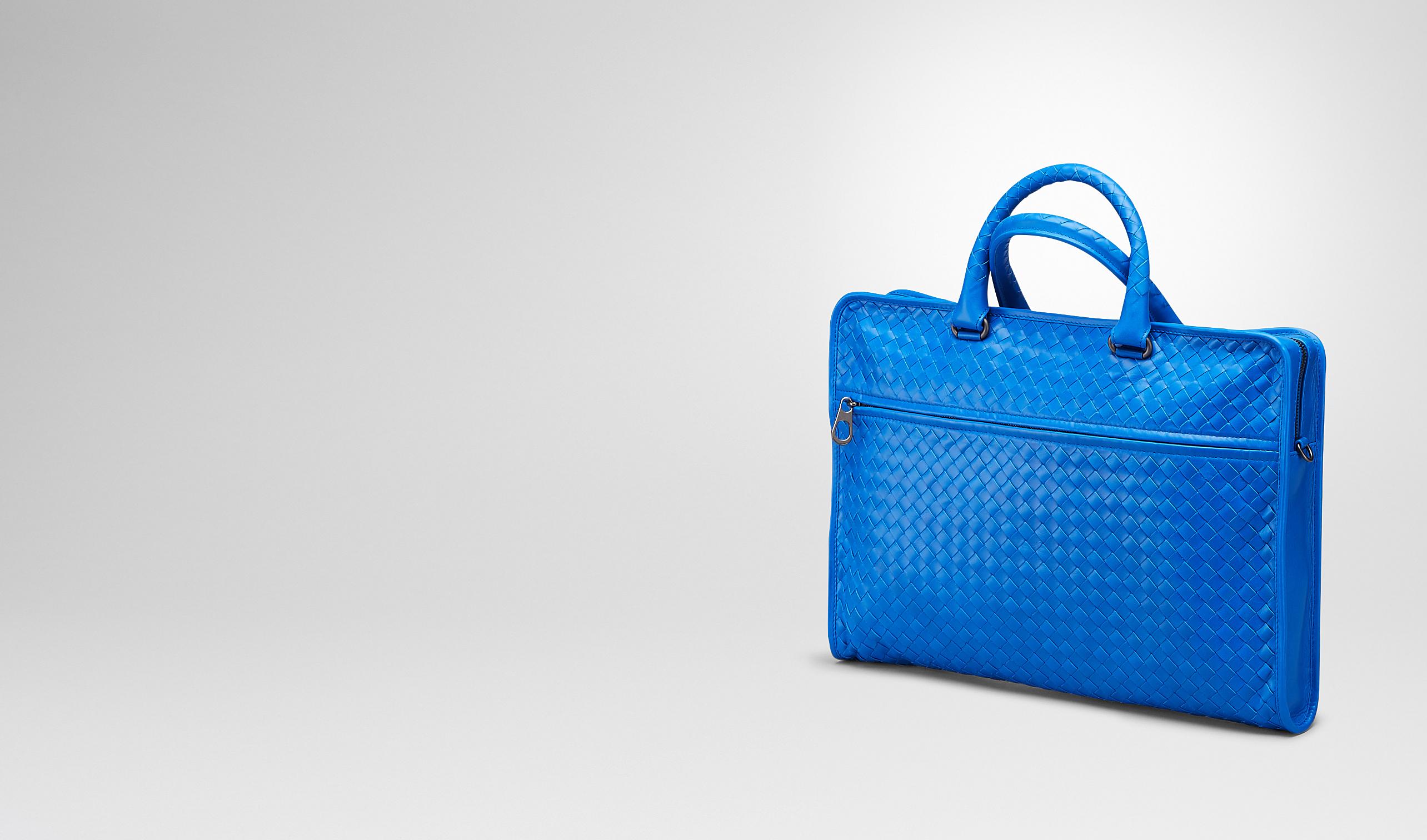 BOTTEGA VENETA Business Tasche U AKTENTASCHE AUS LEICHTEM KALBSLEDER INTRECCIATO SIGNAL BLUE pl