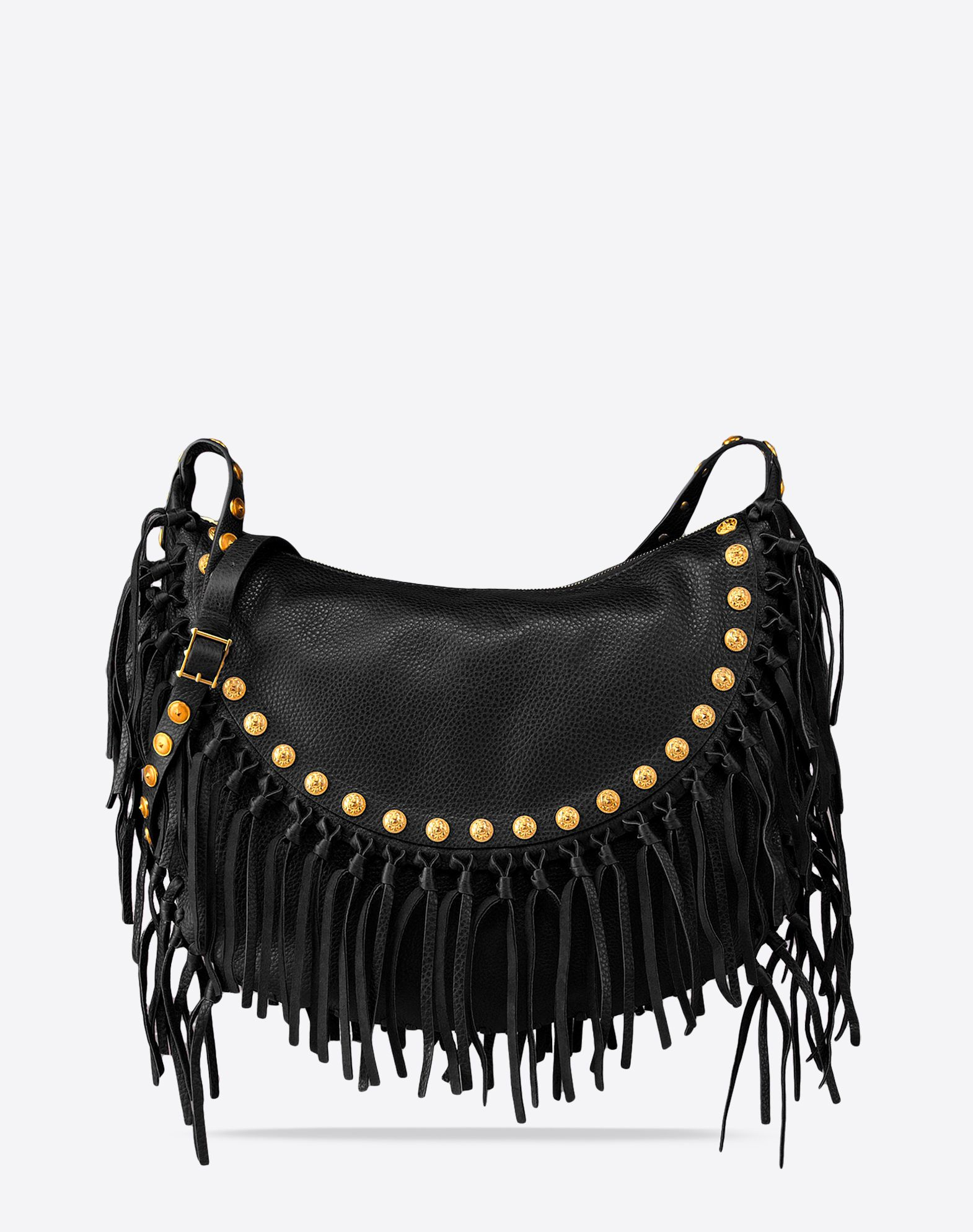 VALENTINO Logo detail Fringe Metal Applications Textured leather Solid color Zip closure Internal pockets Adjustable shoulder straps  45237719na