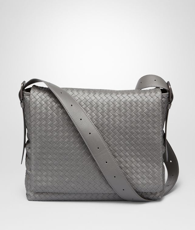 BOTTEGA VENETA MESSENGER BAG IN NEW LIGHT GREY INTRECCIATO CALF Messenger Bag U fp