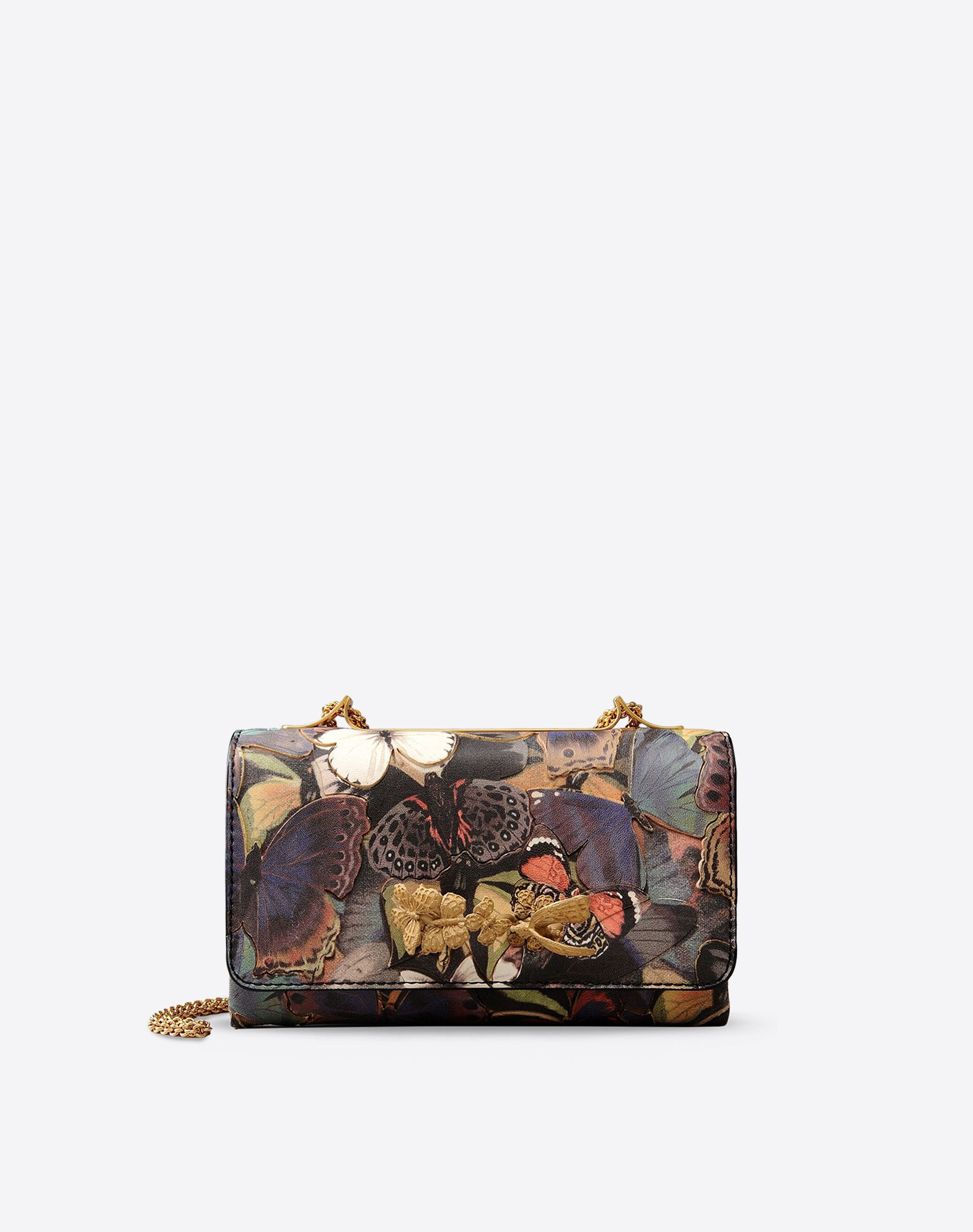 VALENTINO Leather applications Canvas Multicolor Pattern Magnetic closure Leather lining Removable shoulder strap  45237992fx