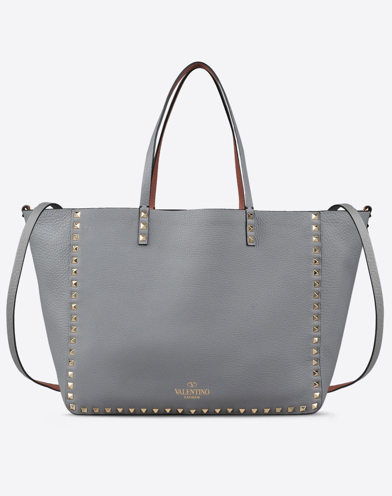 VALENTINO Double handle Logo detail Studs Textured leather Solid color Removable shoulder strap  45238027jl