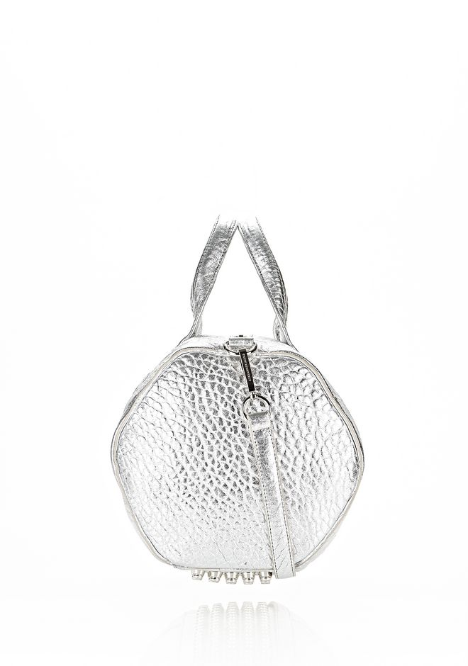 ALEXANDER WANG ROCCO IN PEBBLED RHODIUM METALLIC WITH RHODIUM Shoulder bag Adult 12_n_e
