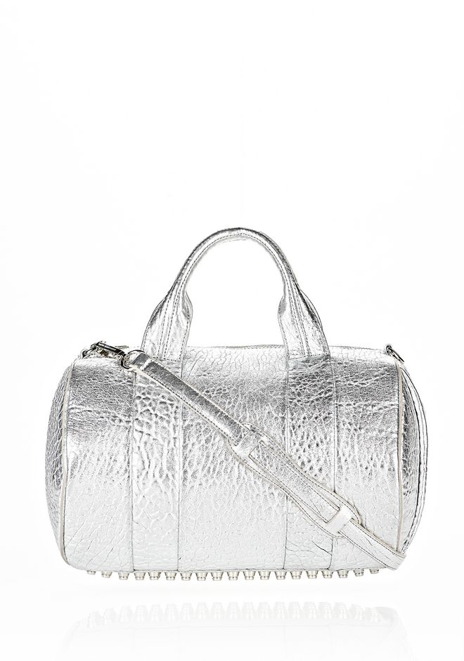 ALEXANDER WANG ROCCO IN PEBBLED RHODIUM METALLIC WITH RHODIUM Shoulder bag Adult 12_n_f