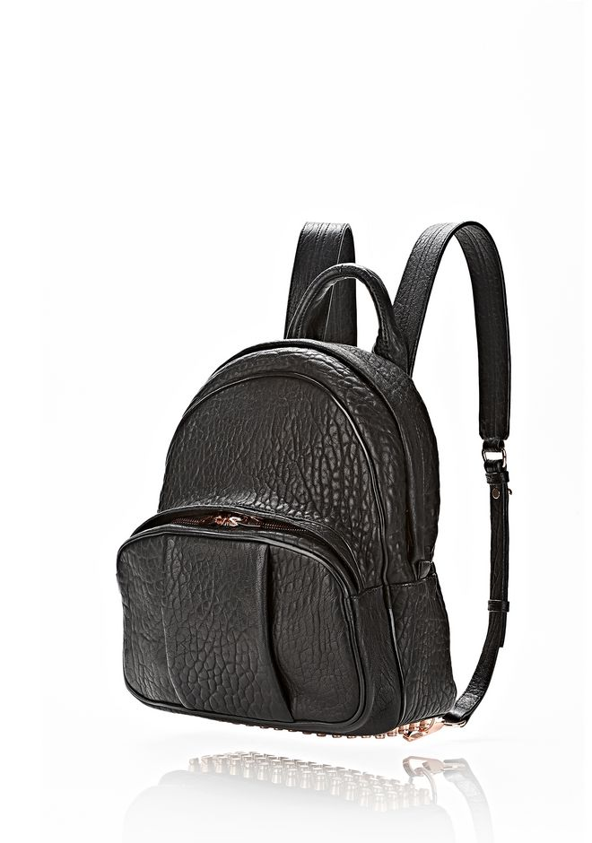 ALEXANDER WANG DUMBO BACKPACK IN BLACK WITH ROSE GOLD BACKPACK Adult 12_n_e