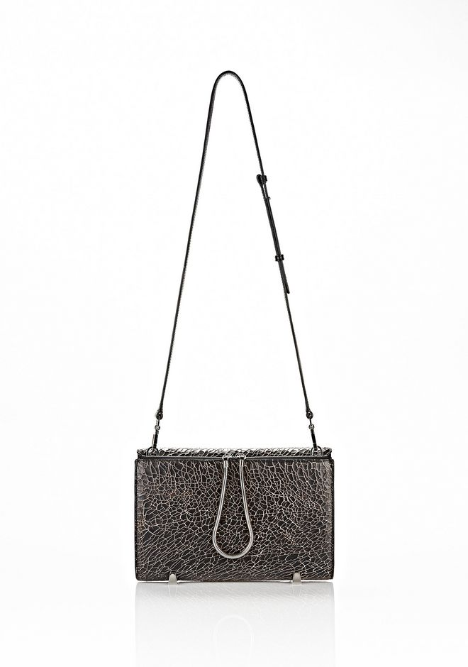 ALEXANDER WANG CHASTITY CLUTCH IN HEAVY CRACKED BLACK WITH RHODIUM CLUTCH Adult 12_n_d