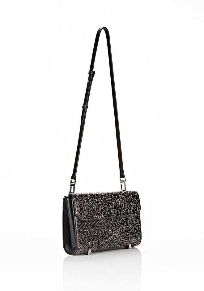 ALEXANDER WANG CHASTITY CLUTCH IN HEAVY CRACKED BLACK WITH RHODIUM CLUTCH Adult 12_n_e