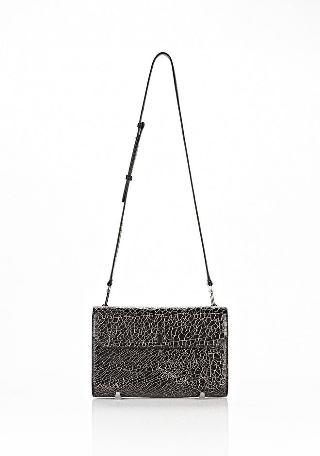 ALEXANDER WANG CHASTITY CLUTCH IN HEAVY CRACKED BLACK WITH RHODIUM CLUTCH Adult 12_n_f