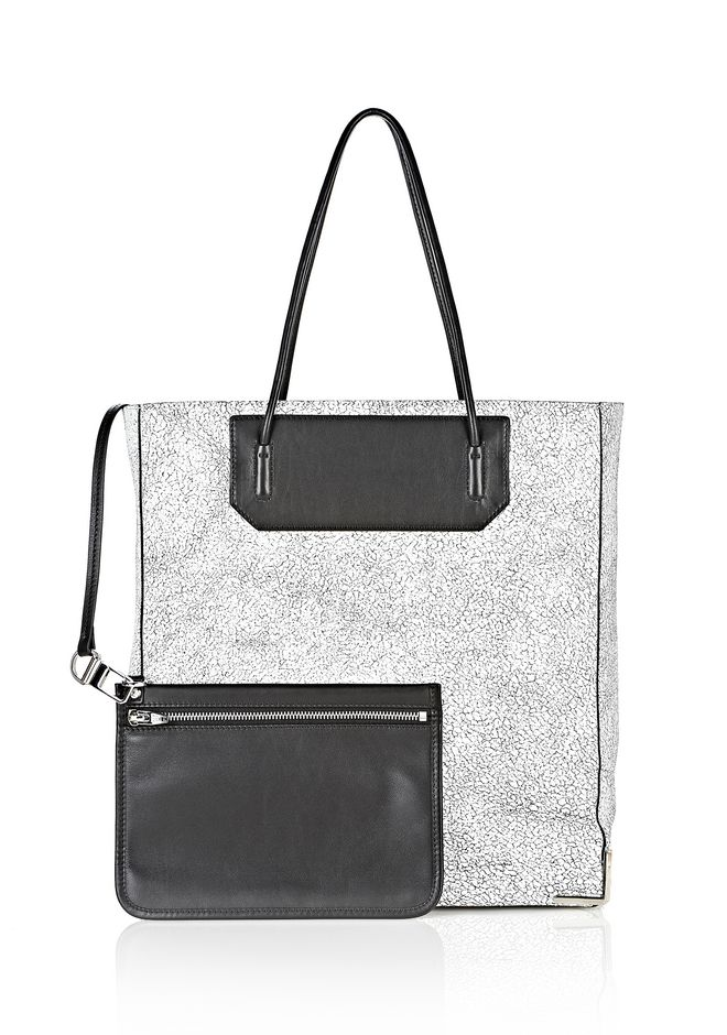 ALEXANDER WANG PRISMA SKELETAL TOTE IN MATTE CRACKED PEROXIDE WITH RHODIUM TOTE/DEL Adult 12_n_d