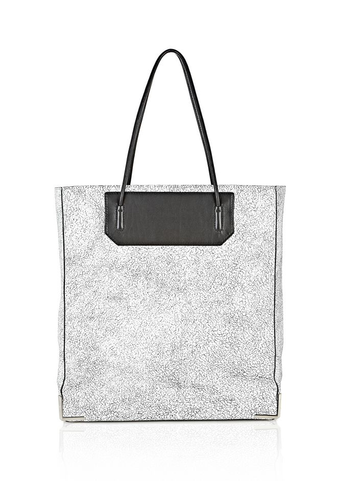 ALEXANDER WANG PRISMA SKELETAL TOTE IN MATTE CRACKED PEROXIDE WITH RHODIUM TOTE/DEL Adult 12_n_f