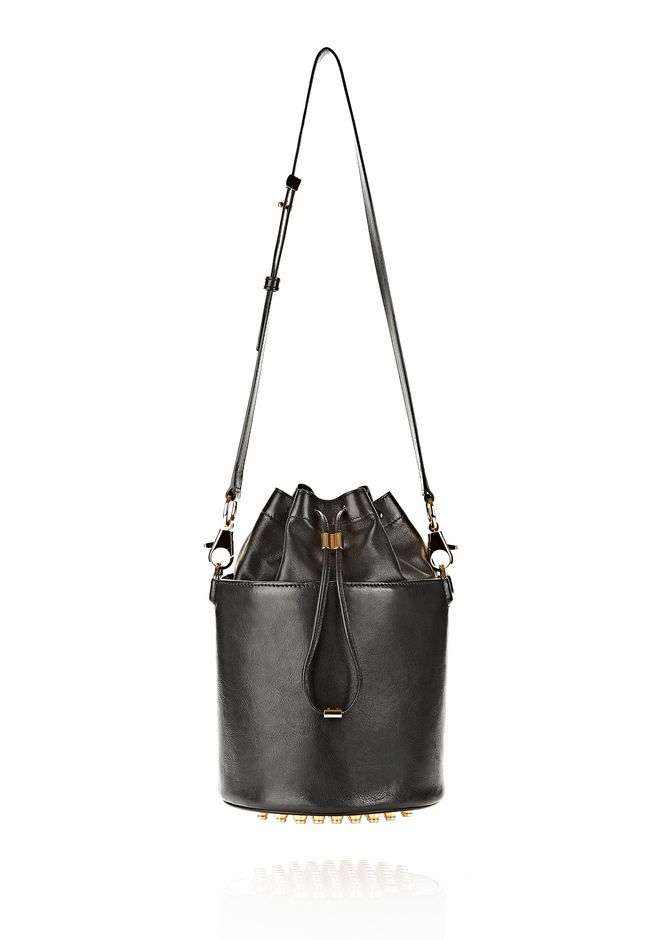 ALEXANDER WANG BUCKET BAG IN  BLACK WITH YELLOW GOLD Shoulder bag Adult 12_n_f