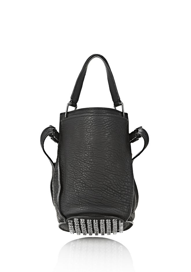ALEXANDER WANG INSDIE OUT DIEGO BUCKET IN BLACK RUBBER LAMINATED Shoulder bag Adult 12_n_d
