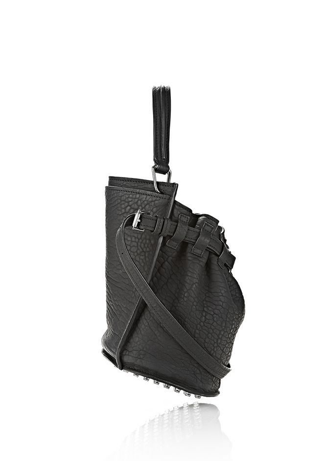 ALEXANDER WANG INSDIE OUT DIEGO BUCKET IN BLACK RUBBER LAMINATED Shoulder bag Adult 12_n_e