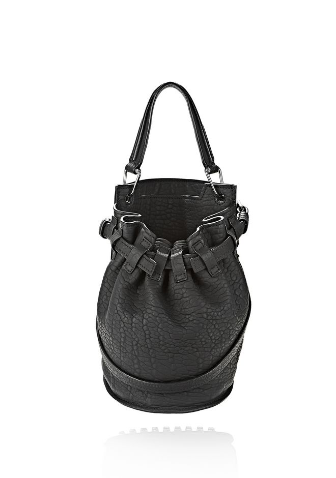 ALEXANDER WANG INSDIE OUT DIEGO BUCKET IN BLACK RUBBER LAMINATED Shoulder bag Adult 12_n_f