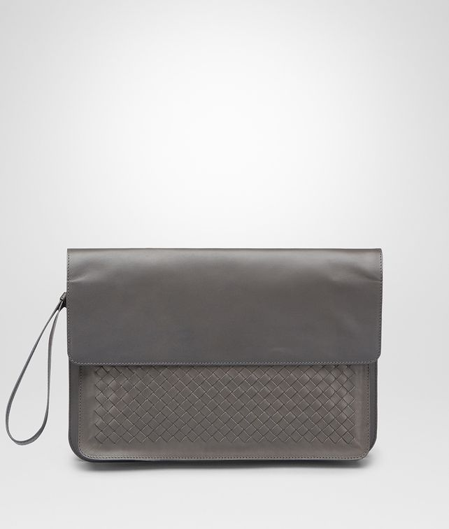 BOTTEGA VENETA PORTE-DOCUMENTS MEDIUM GREY EN CUIR DE VACHETTE INTRECCIATO Petit sac U fp