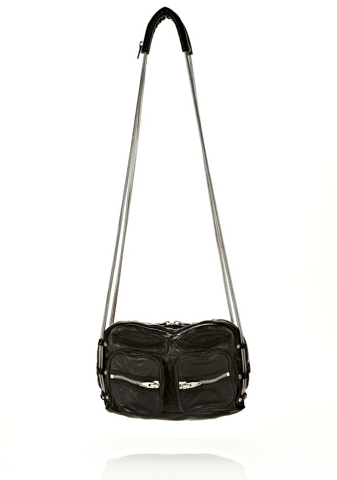 ALEXANDER WANG sale-w-handbags BRENDA CHAIN IN WASHED BLACK  WITH RHODIUM